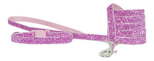 bright pink sparkle chihuahua dog/puppy collar lead set fabric