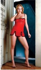Women's Mesh Chemise with Lace & Matching G String Red/Black XL