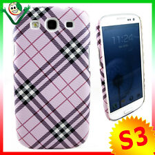 Custodia rigida per Samsung i9300 Galaxy S3 SIII PLAID ROSA back cover no graffi