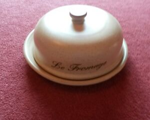 Round Stoneware 'Le Fromage' Lidded Cheese Dish/Plate