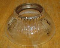 Antique Art Deco Ribbed Art Glass Lamp / Light Fixture Shade w/ Metal Insert Vtg