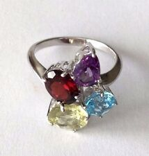Sterling Silver Garnet Citrine Amethyst and Blue Topaz Cocktail Ring