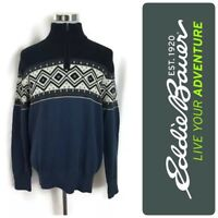 NEW Men's Eddie Bauer Sweater Shirt Nordic Geometric Blue 1/4 Zip Cotton M