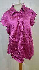 C14 Notations Womens 3X Button aup Blouse Pink Tie Waist Ruffles