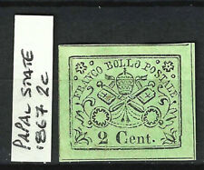 More details for italy papal state 1867 vatican coat of arms 2c light green, mint, 4m, mng