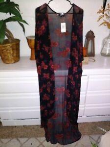 Torrid Black Floral Mesh Maxi Kimono. NWT. Size 3/4X