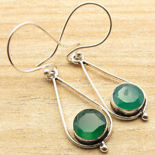 Cut Green Onyx Girls Fashion 925 Silver Plated Earrings Jewelry, Real