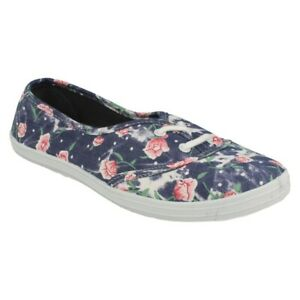 LADIES SPOT ON FLAT LACE UP SUMMER CASUAL CANVAS TRAINERS PUMPS PLIMSOLLS F8792