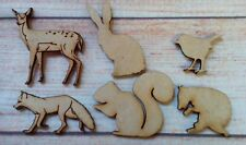 6 x Laser cut MDF Wild life Animals Mixed Fox Hare Robin Squirral Deer Mouse