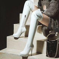 Women's Round Toe Thigh High Over the Knee Boots Stilettos Heels Big Size 34-48