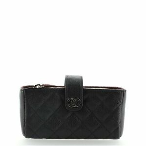 Chanel Phone Holder Clutch Quilted Caviar Mini
