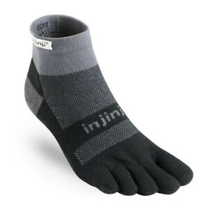 Injinji Run Midweight Mini Crew Five Finger Running Toe Socks Black/Grey
