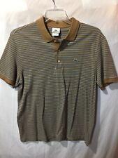 Lacoste Mens Brown Blue Striped Polo Sport Shirt Short Sleeve Size Sz 6 U.S. Lrg