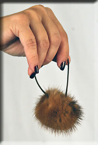 New Demi Buff Mink Fur Ball with Scrunchy Scrunchie Scrunchies - Efurs4less