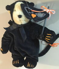 "Muffy VanderBear 1991 BLACK CAT MUFFY Halloween 8"" Plush Teddy Bear w/Mask & Tag"