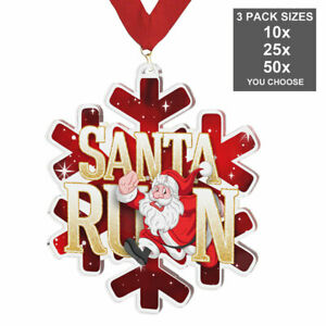 SANTA RUN FATHER CHRISTMAS ACRYLIC MEDAL 50-70mm, 10, 25 or 50 PACK WITH RIBBONS