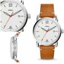 Fossil Commuter Silver Tone Brown Leather Band Men's Watch FS5395 NWT