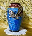 Moriage Dragon Ware Hand Painted Porcelain Blue Vase Japanese