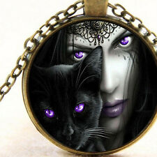 New Black Cat Purple Eyes Enchantress Necklace Mystical Witchcraft Wiccan Occult