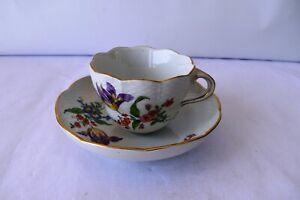 """Antique Mocha Porcelain Cup With Flower Motif Meissen Decorative Collectibles""""K"""