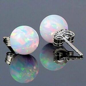 Gorgeous 925 Silver Stud Earrings Women White Opal Wedding Jewelry A Pair/set