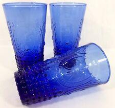 Ivima 1895 Hobnail Cobalt Blue Glass Ice Tea 17 oz. Tumblers 3 Set Portugal Rare