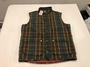 NWT $278.00 Peter Millar Mens Crown Waxed Cotton Tartan Vest Green Size LARGE