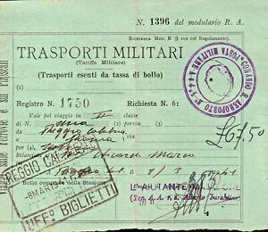 TRASPORTI MILITARI REGIO AEROPORTO N° 7 - POSTA MILITARE 1941 REGGIO CALABRIA