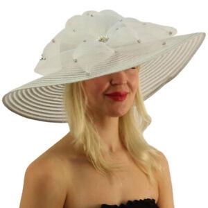 """Bewitching Metallic Wedding Derby Tea Floral Floppy 6"""" Brim Dressy Hat"""