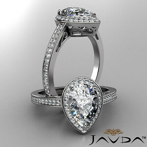 Filigree Shank Halo Pear Cut Diamond Engagement Ring GIA Certified H SI1 1.5 Ct
