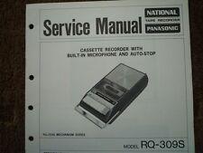 Panasonic RQ-309S REGISTRATORE A CASSETTE MANUALE SERVIZIO diagramma di cablaggio parti