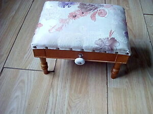 Fabric seat low foot wooden footstool footrest with wooden drawer