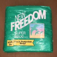 Vintage New Freedom Super Maxi Pads 1988 80s New Peach Strip - 27 Pack NOS