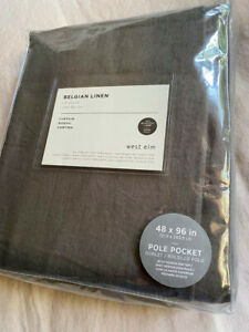 "West Elm Belgian Linen Curtain + Blackout Panel, Charcoal, 48""x 96"" Pole Pocket"