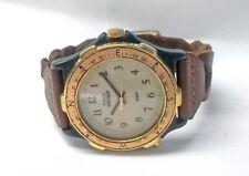 Vintage Timex Indiglo Diver Watch Black Gold Rotating Bezel Beige Dial 37mm Mens