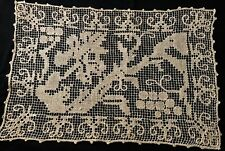"""Old Italian Lace Runner Gorgeous Embroidery on Net Grapes Pattern 18"""" x 12"""" Hm"""