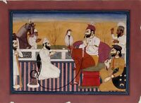 A Sikh Nobleman Holds a Falcon Handmade Miniature Sikh Art Painting On Paper