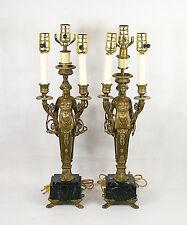 Antique Empire Napoleon III Figural Gilt Bronze Pair of  3 Light Lamp