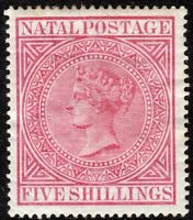 South Africa Natal 1874 carmine 5/- crown CC perf 14 mint SG73