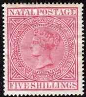 South Africa Natal 1874 carmine 5/- crown CC perf 14 mint SG73