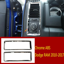 2×Chrome ABS Dashboard Side Air Condition Vent Trim Fit For Dodge RAM 2010-2017