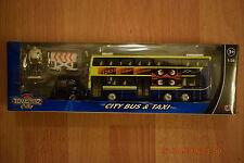 TEAMSTERZ DIECAST PLASTIC TOY DOUBLE DECKER LONDON METRO BUS MODEL & TAXI 1/38