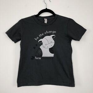 Girls FARM SANCTUARY Be The Change Vegan 10 Years Casual Dark Grey T-Shirt