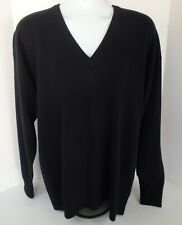 Men's Hardenglen Black 100% Cashmere V Neck Sweater Size XL Scotland