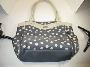 GIRLS CARTERS BABY DIAPER BAG GREY AND DOKA DOTS 19 X12  PRE-OWNED