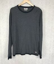 NWT JACK & JONES Original Men's Sz L Navy White Stripe Crewneck Sweater Cotton