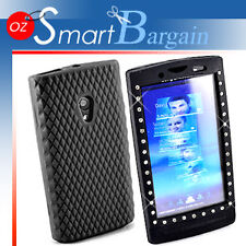 Black Diamond Silicone Case For Sony Ericsson X10 +Film