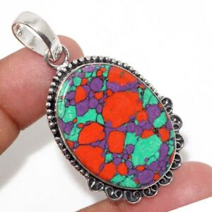 "Mosaic Jasper 925 Silver Plated Gemstone Handmade Pendant 2.1"" Jewelry Gift GW"