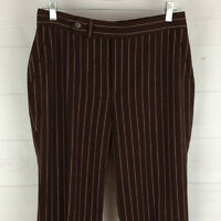 CHAPS womens size 6 stretch brown striped flat front straight dress career pants
