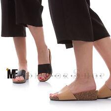 SCARPE donna sandali zeppa 5 sughero zatteroni ciabatte clogs eco pelle YQ2408